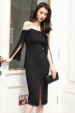 Black Off-Shoulder Pearl-Lined Front Slit Dress
