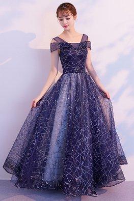 Blue V-Cold-Shoulder Sequin-Lined Gown