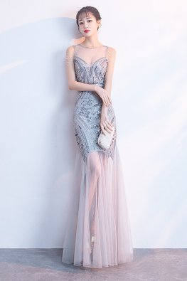 Silver Shoulder Tassels Sweetheart Mermaid Illusion Gown (Express)