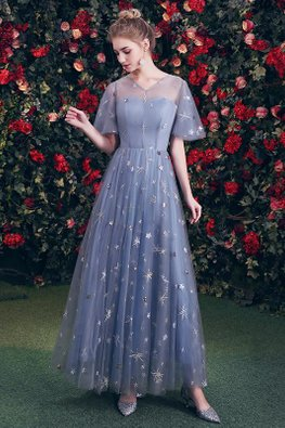 Blue V-Illusion Neckline Wide Sleeves Twinkle Gown