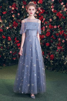 Blue Illusion Neckline Overlay Cold-Shoulder Twinkle Gown