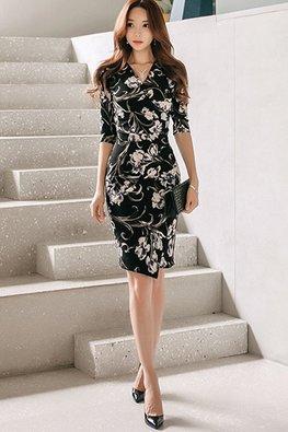 Floral V-Wrap Elbow Sleeves Sheath Dress