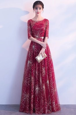 Assorted Colours Jewel Neckline Elbow Sleeves Fireworks Gown