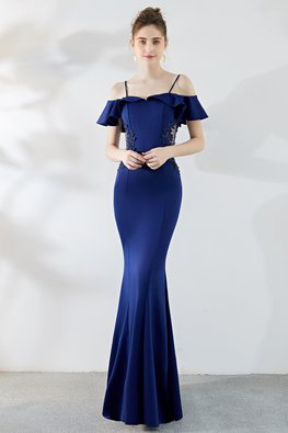 Assorted Colours Open Sleeves Applique Mermaid Gown