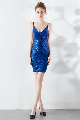 Assorted Colours Spaghetti Straps Sequins Party Dress