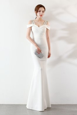 Assorted Colours Open Sleeves Gem Encrusted Straps Mermaid Gown