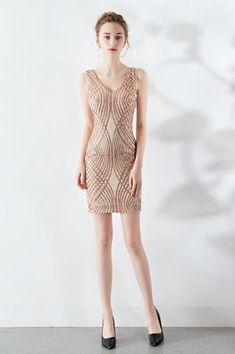Assorted Colours Sequins Strips Party Dress