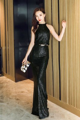 Assorted Colours Liquid Metal Halter Neck Trumpet Sequins Gown