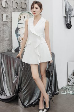 White Lapel Collar Ruffle Front Mini Dress