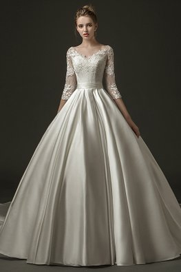 V-Neck Illusion Lace Sleeves Open Back Wedding Gown with Chapel Train
