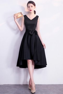 Black V-Neck Flexi Ribbon Hi-Lo Dress (Express)