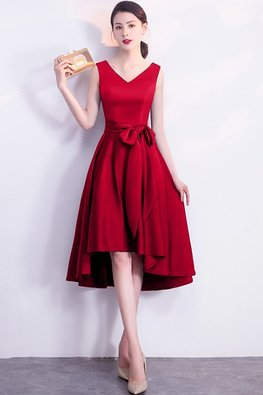 Assorted Colours V-Neck Flexi Ribbon Hi-Lo Dress