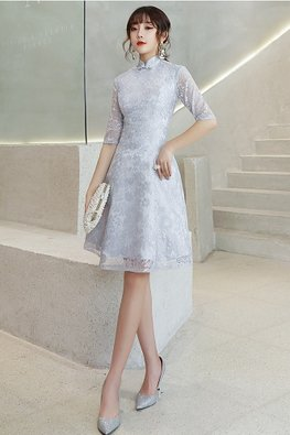 Silver Grey Mandarin Collar Elbow Sleeves A-Line Cheongsam (Express)