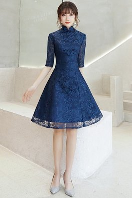Silver Grey / Navy Blue Mandarin Collar Elbow Sleeves A-Line Cheongsam
