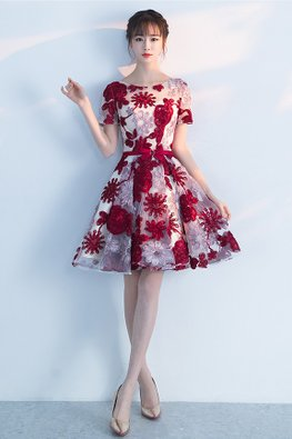 Red Illusion Neckline Ribbon Floral A-Line Gown