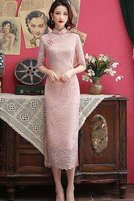 Pink / Grey Elbow Sleeves Tea-Length Lace Cheongsam