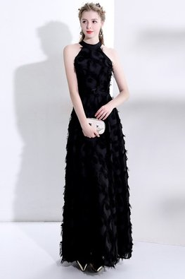 Black Halter Neckline Feather A-Line Long Gown (Express)