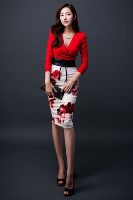 2-pc Red Deep V Top with Floral Skirt