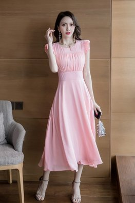 Pink / White Pleated Empire Dress