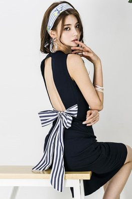 Black Open Back Stripe Ribbon Bow Dress