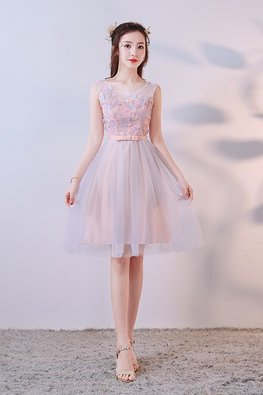 Pastel Florals Jewel Illusion Neckline Lace-up Gown (Express)