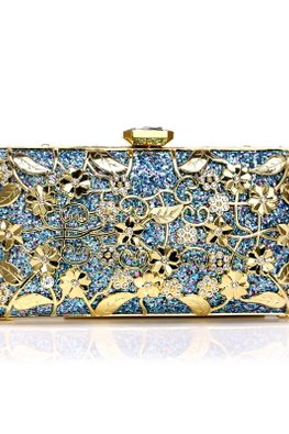 Assorted Colours Floral Metal Edged Clutch