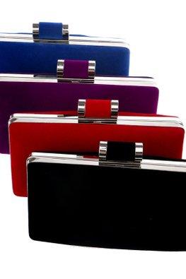 Assorted Colours Minimalist Velvet Clutch