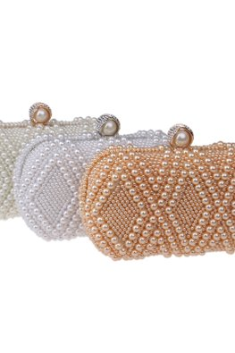 Assorted Colours Diamond Pearl Globe Clutch