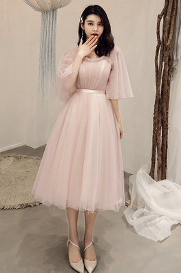 Dusty Pink Sweetheart Ruffles Butterfly Sleeves Short / Tea-Length Gown