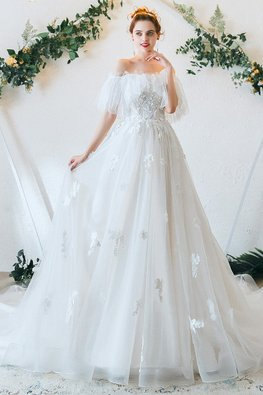 Off-Shoulder Sleeves Lace Wedding Gown
