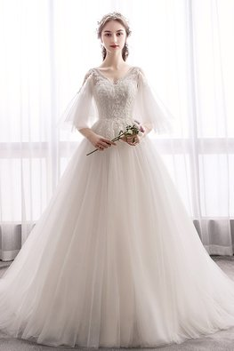 Light Champagne V-Neck Open Sleeves Eden Wedding Gown