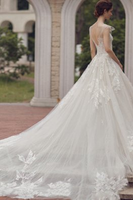 Illusion Neckline Lace Bodice Ruffled Sleeves Wedding Gown