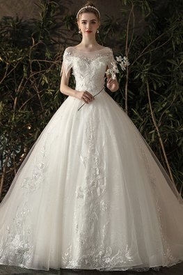 Illusion Neckline Layered Sleeves Wedding Gown