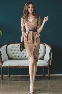 Khaki V-Neck Peplum Belted Dress