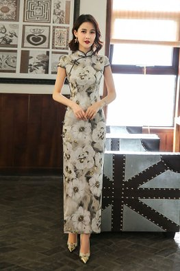 Floral Painting Cap Sleeves High Slit Cheongsam