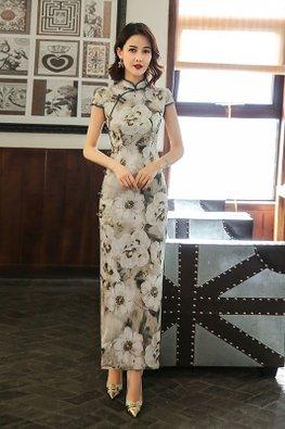 Floral Painting Cap Sleeves High Slit Cheongsam