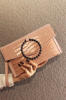 Assorted Colours Crocodile Grain Leather Clutch