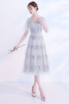Pink / Grey V-Neck Wide Sleeves Feather Embroidery Lace-up Gown