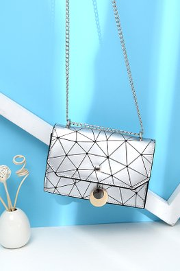 Silver Geometric Chain Sling Bag