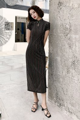 Multi-Colour Stripe Keyhole Short Sleeves Cheongsam