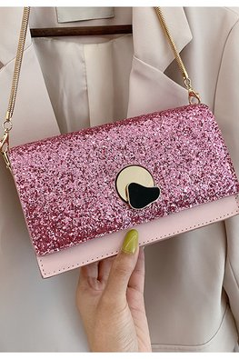 Assorted Colours Rectangular Glitter Sling Bag