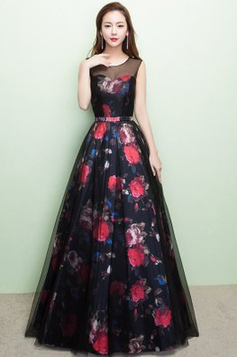 Assorted Colours Illusion Sweetheart Floral Mesh Gown