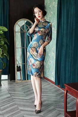 Blue Pearl Knots Silk Cheongsam