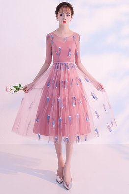 Pink / Grey Illusion Sweetheart Elbow Sleeves Feather Embroidery Lace-up Gown
