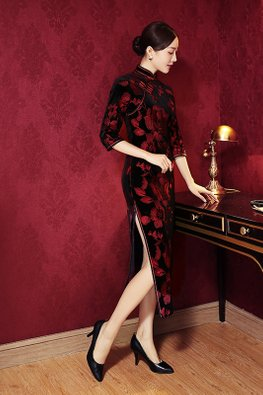 Black Red 3/4 Sleeves Floral Cheongsam