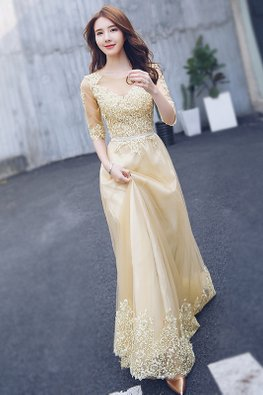 Champagne Gold Illusion Elbow Sleeves Tulle Gown