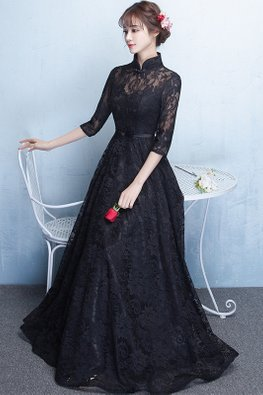 Black Mandarin Collar Illusion Sweetheart Lace Gown (Express)