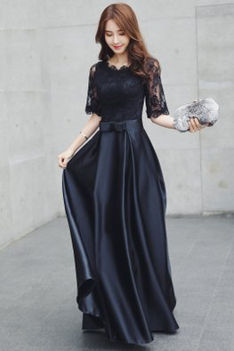 Black Round Neck Lace Sleeves Ribbon Bow Gown