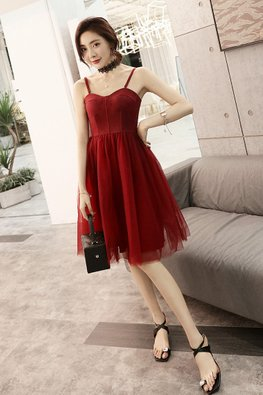 Wine Red Suede Bustier Tulle Skirt Dress