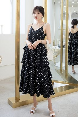 Polka Dot V-Neck Layered Dress